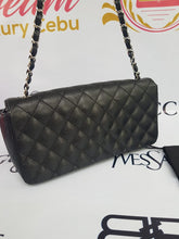 Load image into Gallery viewer, Authentic Chanel east west chain clutch in black caviar silver hardware cebu