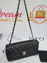 Load image into Gallery viewer, Authentic Chanel east west chain clutch in black caviar silver hardware philippines