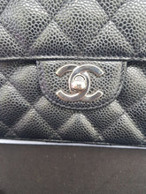Load image into Gallery viewer, Authentic Chanel east west chain clutch in black caviar silver hardware pre-loved