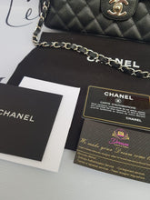 Load image into Gallery viewer, Authentic Chanel east west chain clutch in black caviar silver hardware consignment