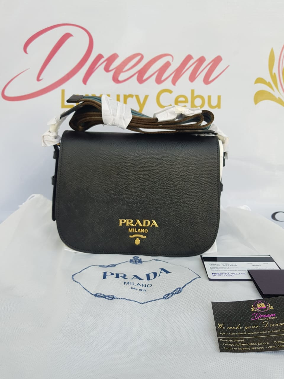 Authentic Prada 1BD192 Saffiano nero, cross body bag philippines
