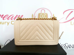 buya dna sell Authentic Chanel Le boy Chevron