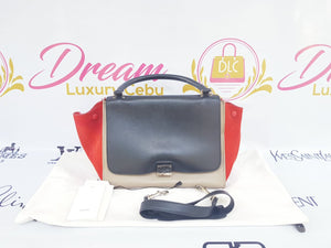 Authentic Celine trapeze tri color, orange, black and Grey in smooth leather