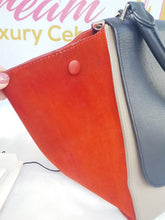 Load image into Gallery viewer, Authentic Celine trapeze tri color, orange, black and Grey in smooth leather
