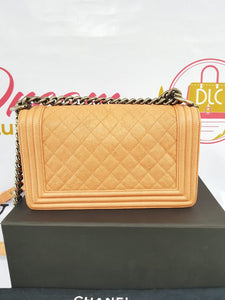 Authentic Chanel Le boy in Caramel beige old medium