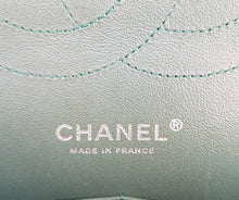 Load image into Gallery viewer, Authentic Chanel classic jumbo double clap in blue green Series 24 consignment