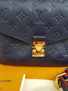 Authentic Louis Vuitton Metis Emperiente Marine Rouge for sale