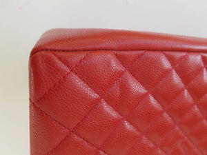 Chanel Red Quilted Caviar GST Grand Shopper Tote Bag SHW