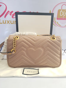 Brand new Authentic Gucci marmont flap in nude beige in antique gold Hardware philippines