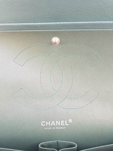 Authentic Chanel classic jumbo double clap in blue green Series 24 seller