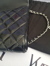 Load image into Gallery viewer, Authentic Chanel jumbo clutch black patent in silver hardware series 17 consignment