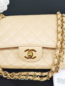 Authentic Chanel classic double flap medium in caviar leather Gold hardware price