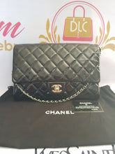 Load image into Gallery viewer, Authentic Chanel jumbo clutch black patent in silver hardware series 17 philippines