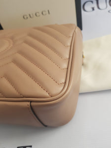 Brand new Authentic Gucci marmont flap in nude beige in antique gold Hardware price