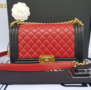 Authentic Chanel le boy bi color in lambskin leather matte gold hardware buy and sell