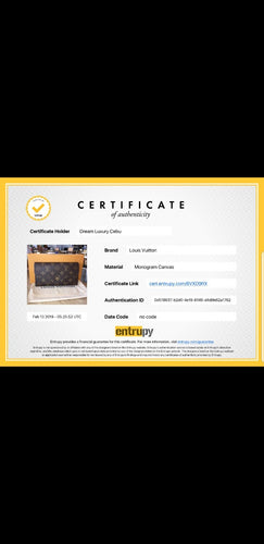 The Authentication Certificate for Louis Vuitton Wallet Entrupy