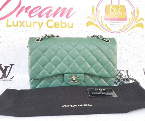 Authentic Chanel classic jumbo double clap in blue green Series 24