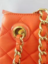 Load image into Gallery viewer, Authentic Kate Spade Quilted Chain Bag in Orange Silver Hardware
