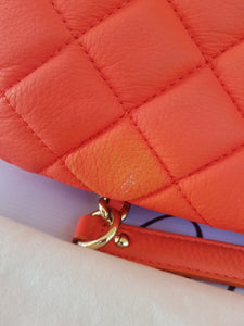 Authentic Kate Spade Quilted Chain Bag in Orange Silver Hardware