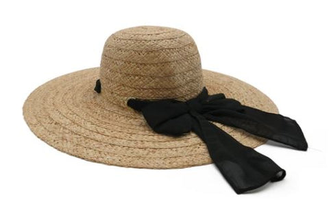 Morgan & Taylor Natural Wide Braid Raffia Floopy Hat
