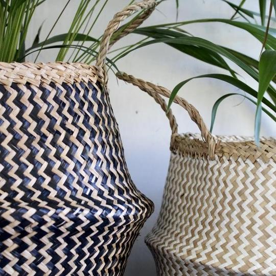 ZIG ZAG WOVEN SEAGRASS BASKET FROM FOREST FOX