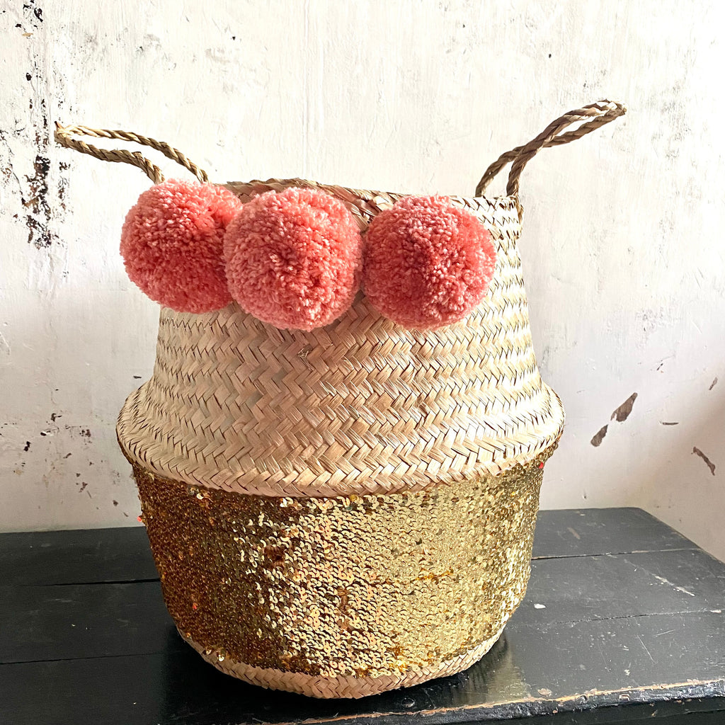 Forest Fox Gold Sequin pom pom basket Terracotta Pink
