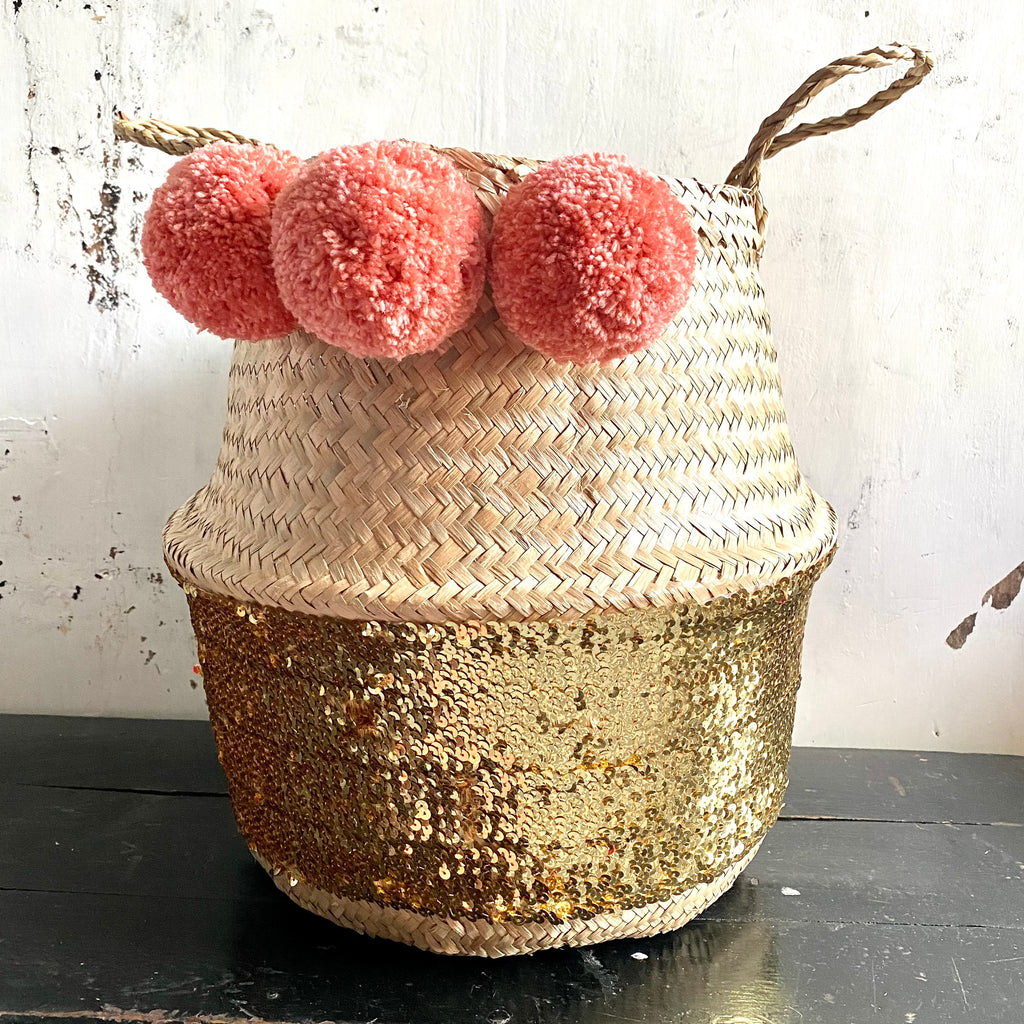 Sequin gold seagrass belly basket from Forest Fox