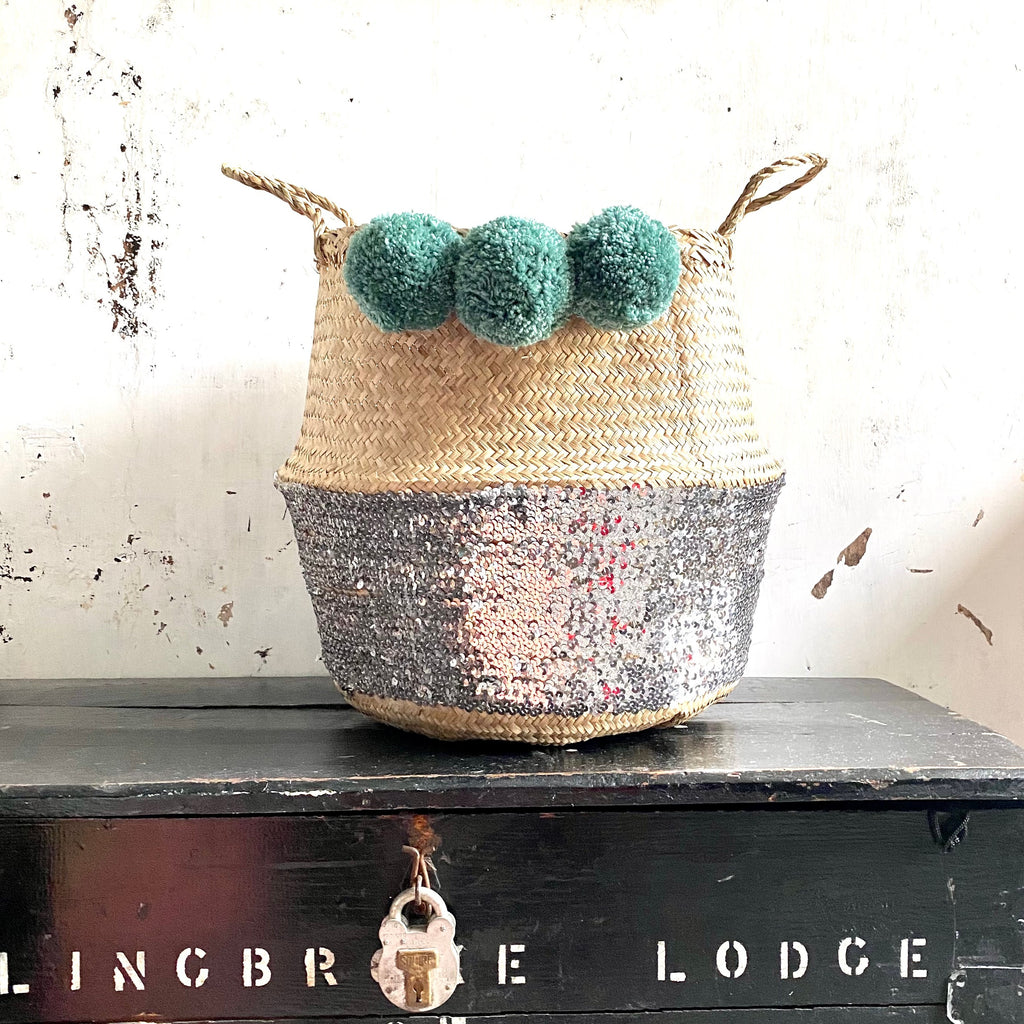 Silver Sequin Belly basket With Green Teal Pom Poms from Forest Fox