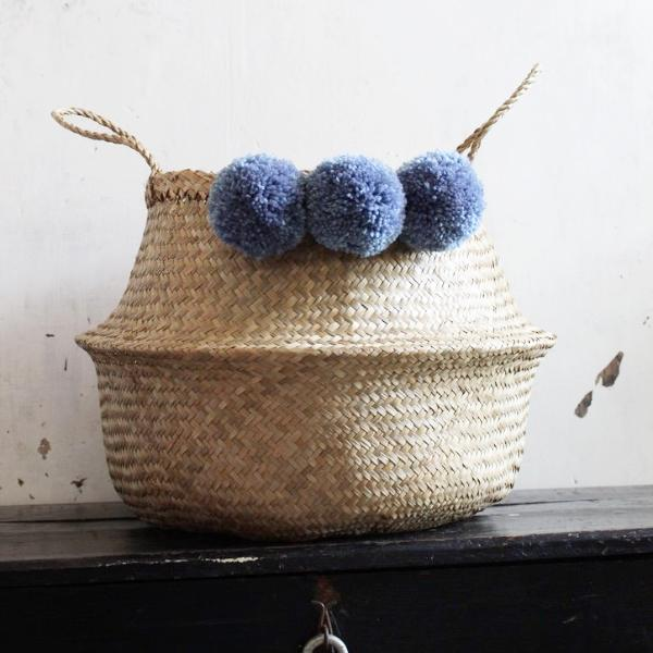 Blue Pom Pom seagrass basket by Forest Fox