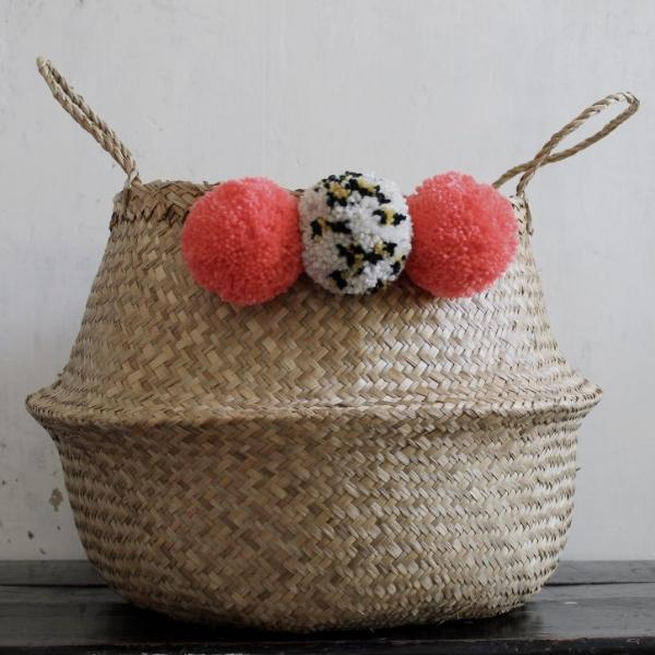 Pom pom seagrass belly basket by Forest Fox
