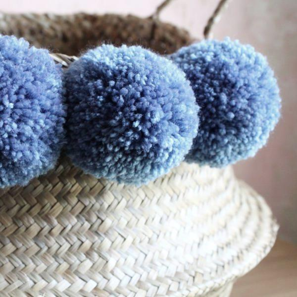 Denim blue seagrass pom pom basket by Forest Fox