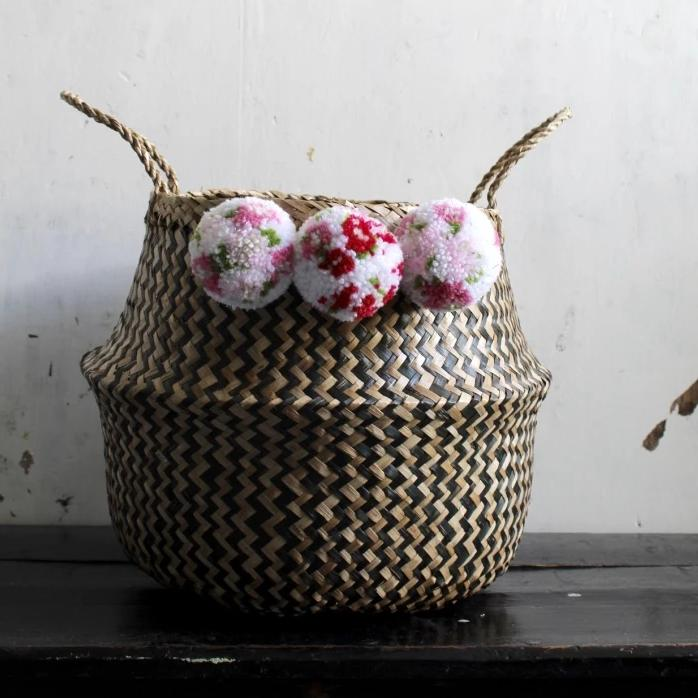 Japanese Blossom Floral Pom Pom Zig Zag Seagrass Belly Basket By Forest Fox