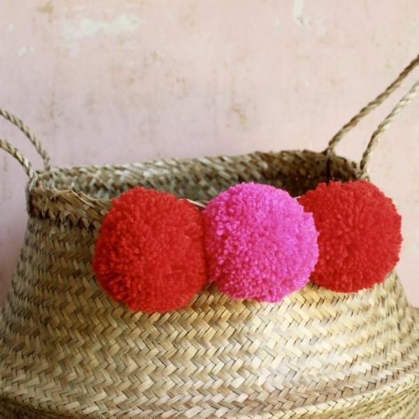 Red pom pom basket by Forest Fox i