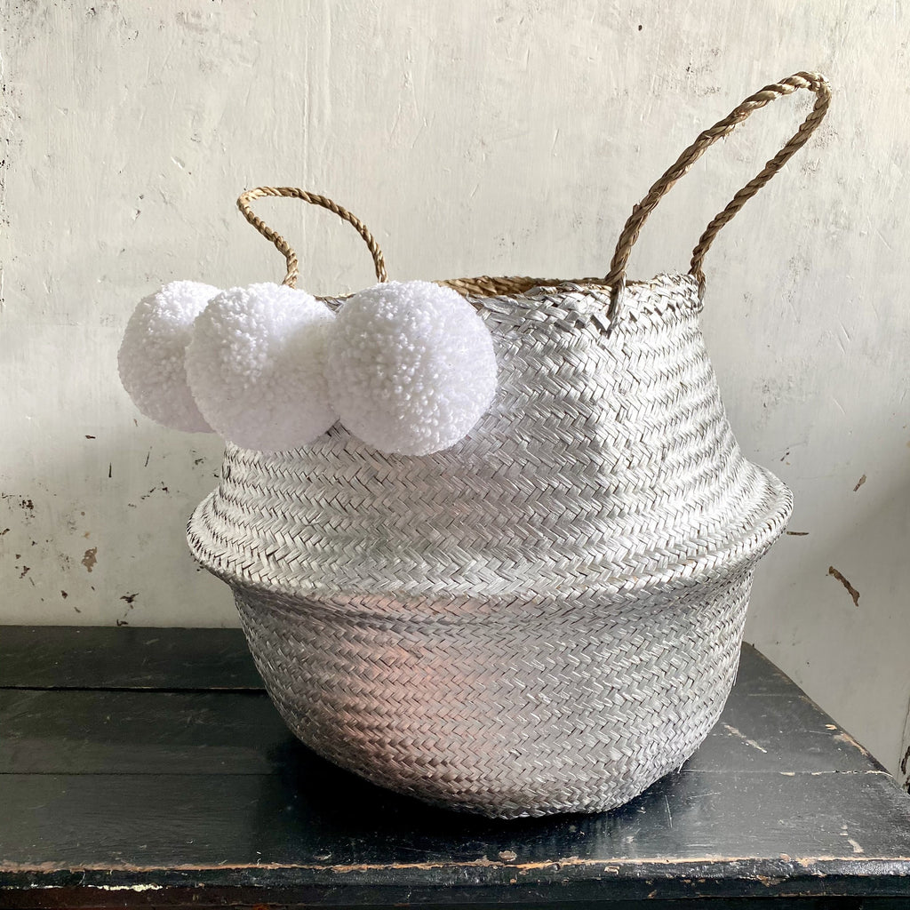 Forest Fox Silver white pom pom basket 10