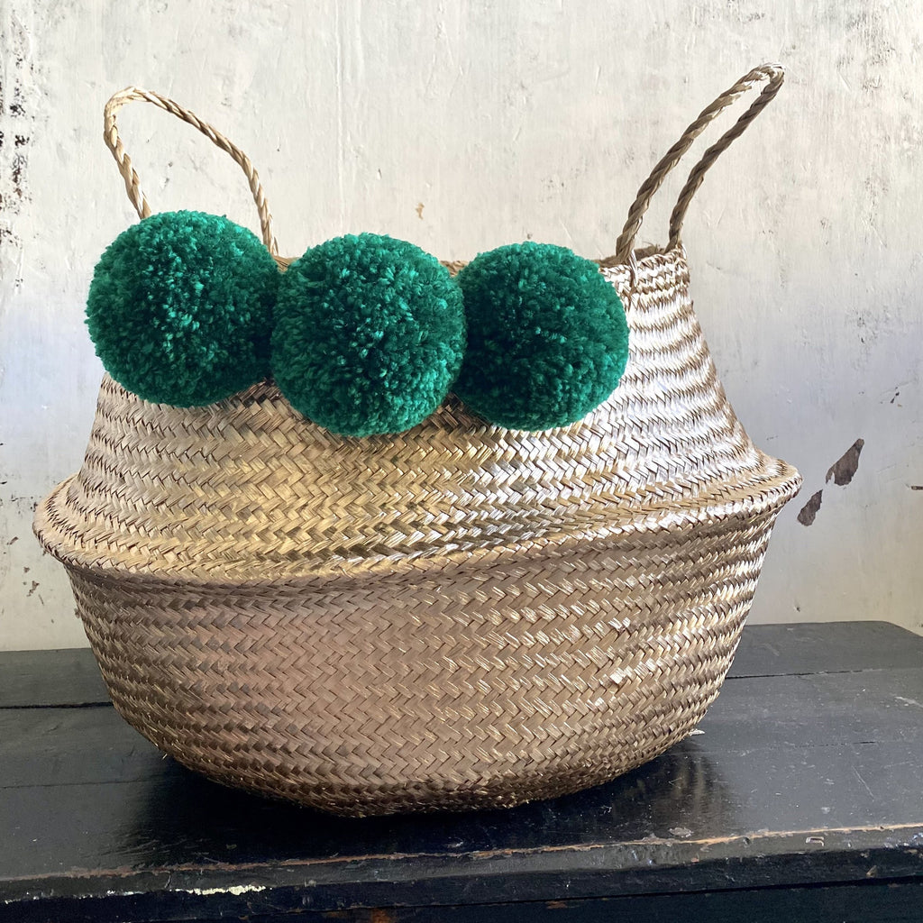 Forest Fox green gold pom pom basket 1