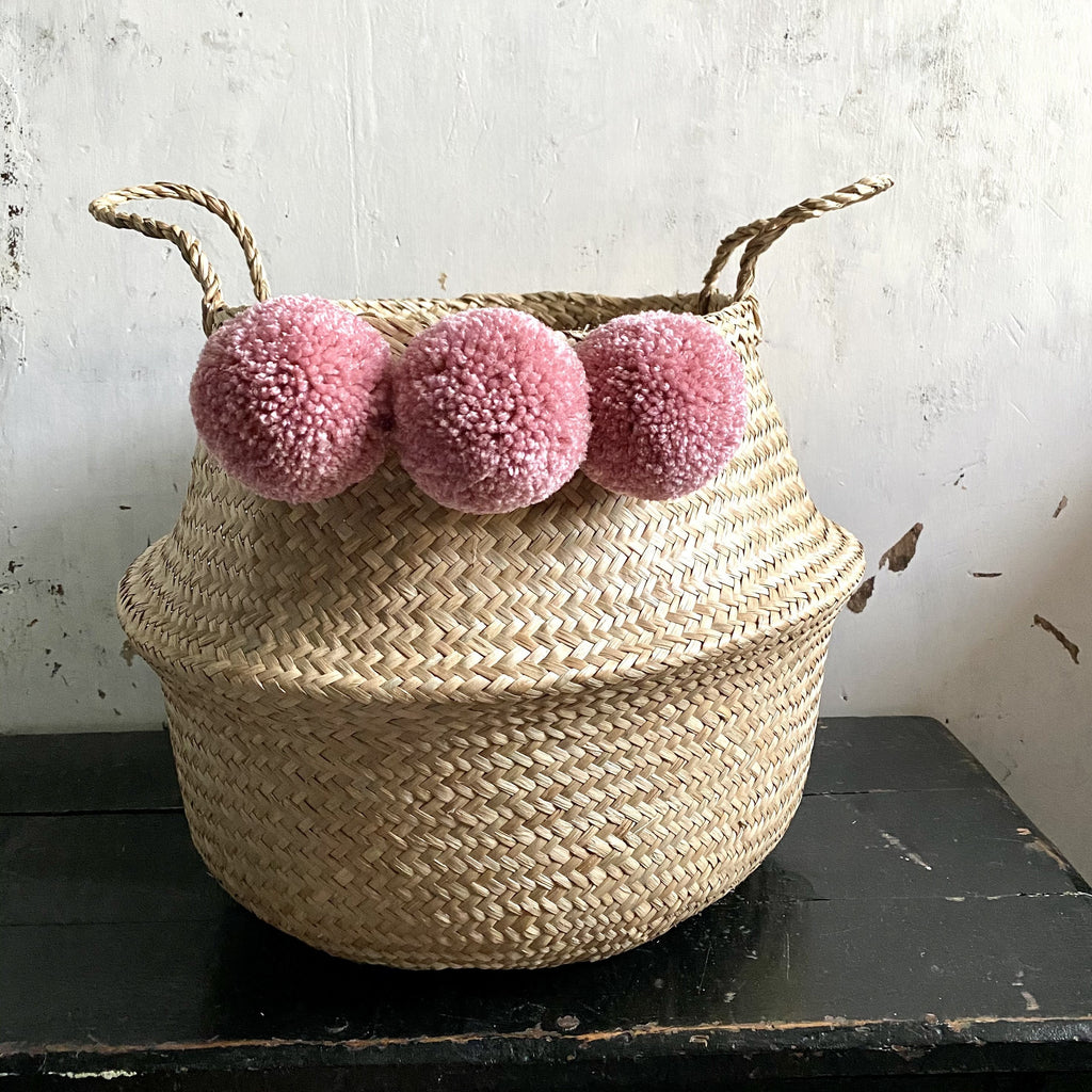 Forest Fox pink pom pom basket