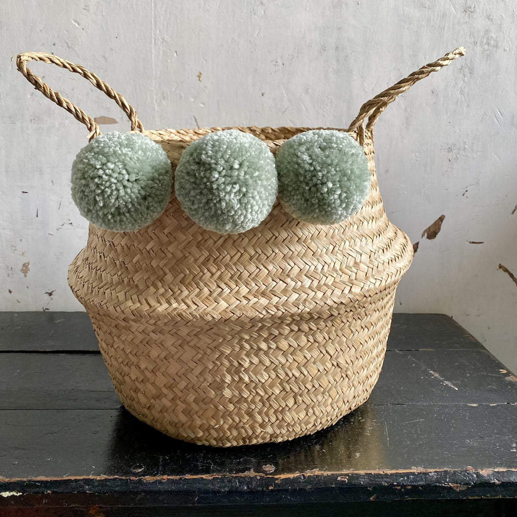 Pom Pom Storage Basket Sage Green