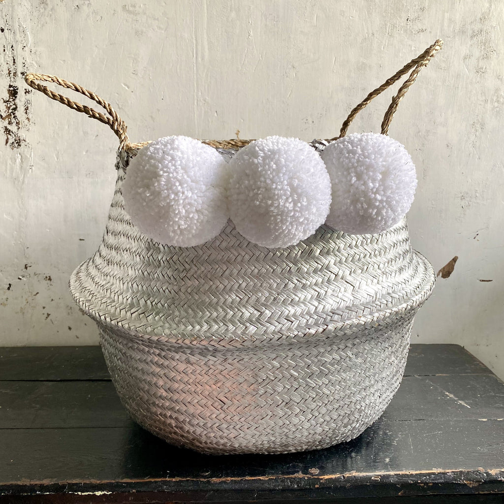 Forest Fox Silver white pom pom basket 1