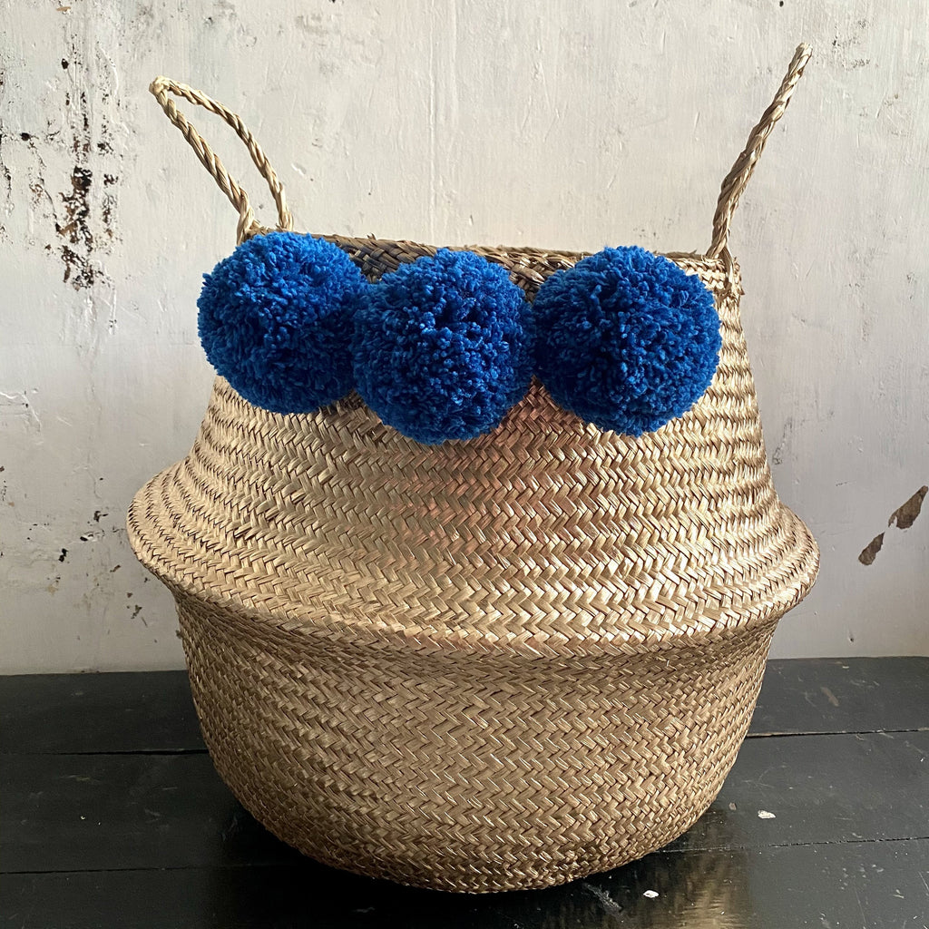 Forest Fox teal & gold pom pom basket 1