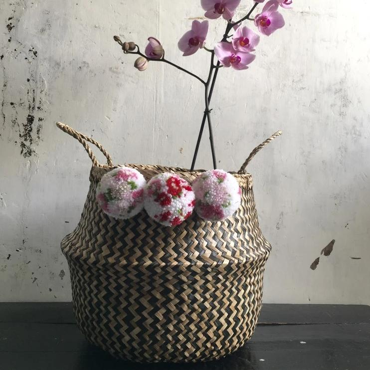 Floral Blossom Pom Po Pink & Black Seagrass Basket From Forest Fox