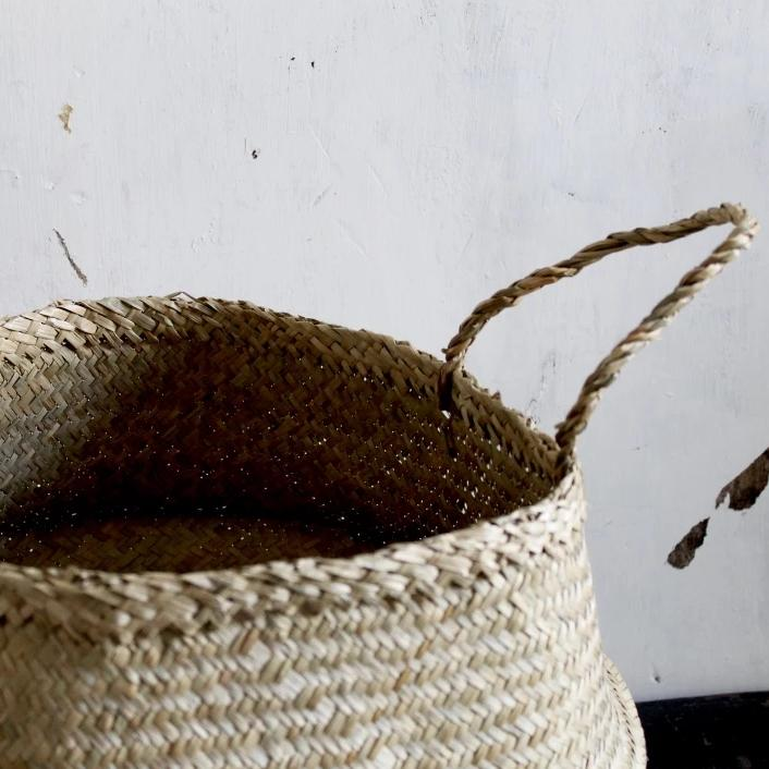 Handmade natural seagrass storage belly basket from Forest Fox