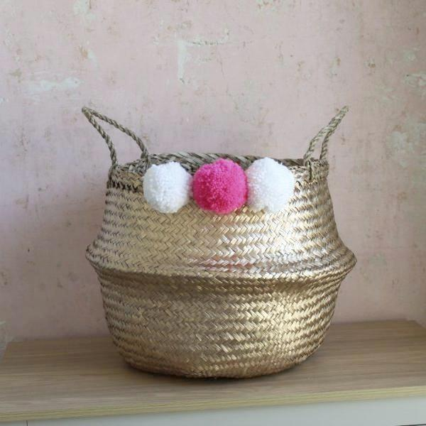 Handmade seagrass pom pom storage basket gold from Forest Fox