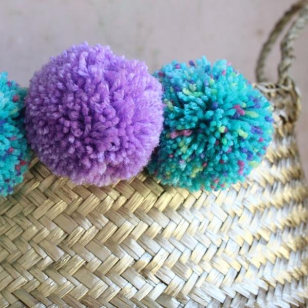 Seagrass pom pom storage basket gold from Forest Fox
