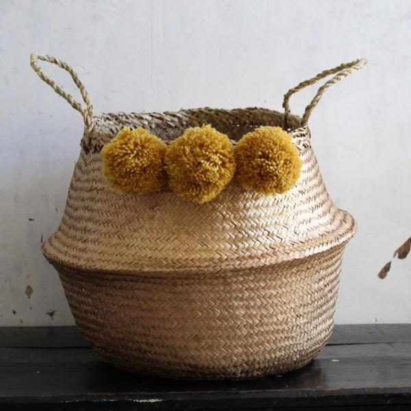 Pom pom seagrass woven belly storage basket by Forest Fox