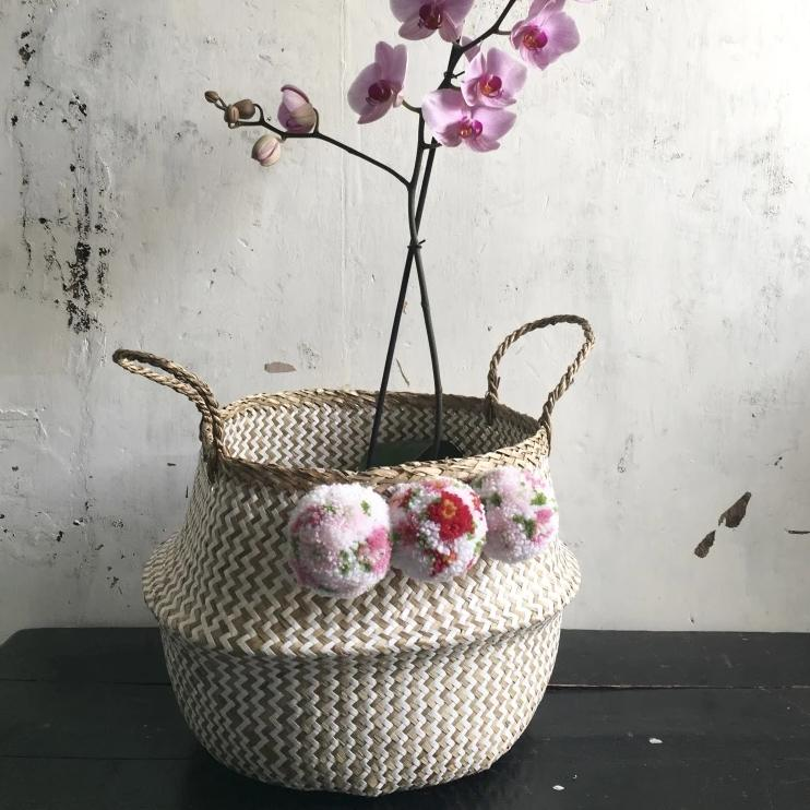 Japanese floral blossom pom pom zig zag basket from Forest Fox
