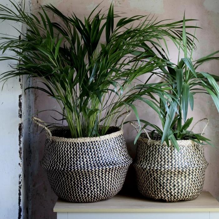 Black & Natural zig zag seagrass basket from Forest Fox