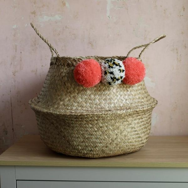 Seagrass storage pom pom basket from Forest Fox