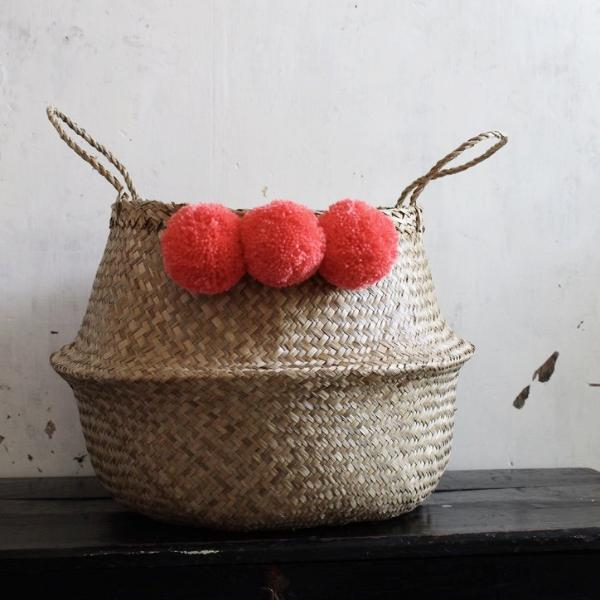 Coral seagrass pom pom seagrass basket by Forest Fox