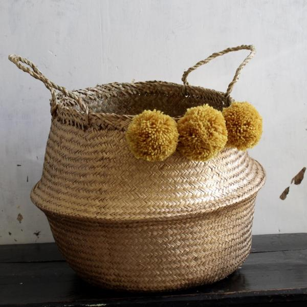 Gold Pom Pom Seagrass Belly Basket Mustard