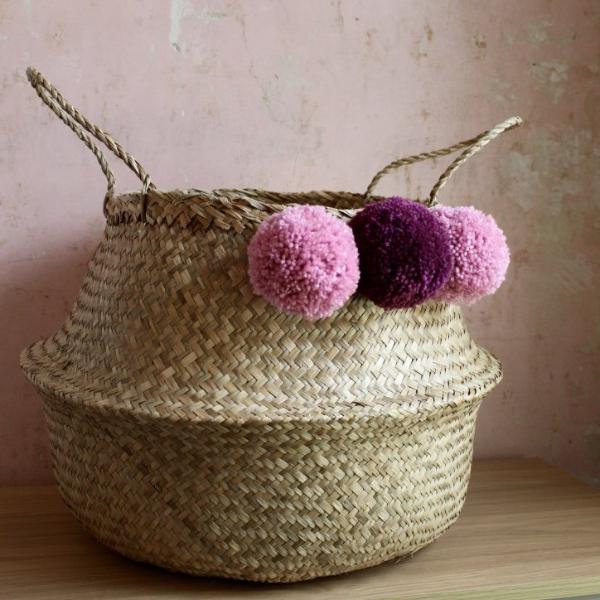 Seagrass pom pom belly basket natural handmade by Forest Fox